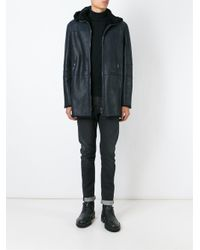 DROMe - Blue Leather Parka Coat for Men - Lyst
