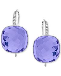 Swarovski | Blue Silver-tone Pink Crystal Drop Earrings | Lyst