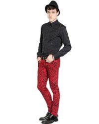 John Richmond Red 16.5Cm Animalier Stretch Denim Jeans for men