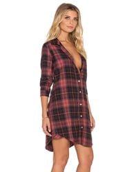 Sundry - Red Button-Up Cotton Shirt Dress - Lyst
