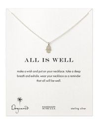 Dogeared | Metallic 'all Is Well' Hamsa Pendant Necklace | Lyst