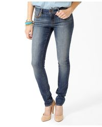 Forever 21 | Blue Studded Pocket Skinny Jeans | Lyst