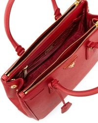 Prada - Red Saffiano Small Double-handle Tote Bag - Lyst