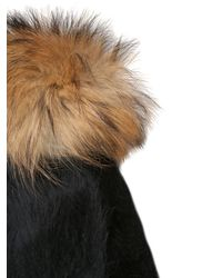 Kreisi Couture Black Papalina Shearling Hat With Pompom