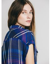Free People - Blue Cap Sleeve Plaid Buttondown - Lyst