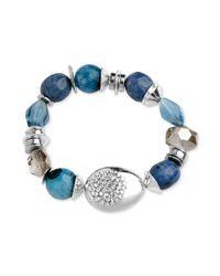 Robert Lee Morris - Silvertone Semiprecious Blue Stone Stretch Bracelet - Lyst
