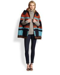 See By Chloé Multicolor Striped Felted Zipfront Cape