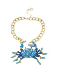 Betsey Johnson | Blue Chain and Faux Pearl Crab Frontal Necklace | Lyst