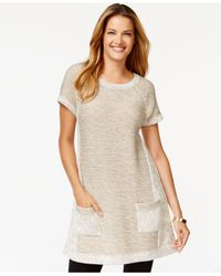 Style & Co. Natural Style&co. Marled-colorblock Tunic, Only At Macy's