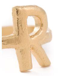 Bjorg Metallic 'r Alphabet Ring'