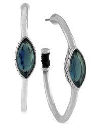 The Sak - Metallic Silver-tone Blue Stone Hoop Earrings - Lyst