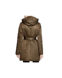 Vince Camuto - Green Quilted Tie Belt Coat - Lyst