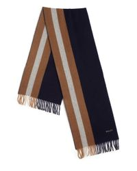 Bally - Blue Striped Fringe Trim Wool Scarf for Men - Lyst