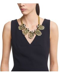 Tory Burch Metallic Raffia, Gold-tone And Crystal Necklace