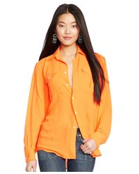 Polo Ralph Lauren | Orange Relaxed-fit Button-front Blouse | Lyst