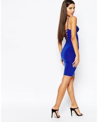 Club L - Blue Mini Bodycon Dress With Harness Detail And Strappy Back - Lyst