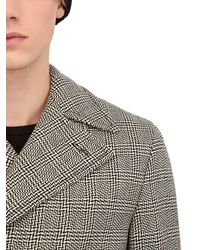 Façonnable Gray Optical Prince Of Wales Wool Coat for men