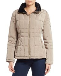 Calvin Klein Natural Faux Fur-trimmed Quilted Coat