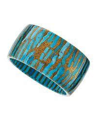 Devon Leigh Metallic Cobbled Copper Turquoise Bangle