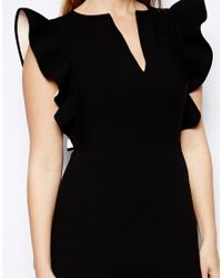 ASOS Black Exclusive Dress with Ruffle Shoulders