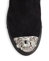 Miu Miu - Black Suede, Shearling & Swarovski Crystal Cap-toe Boots - Lyst