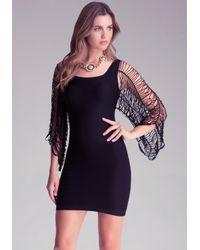 Bebe Black Evita Slash Sleeve Dress
