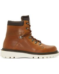 Moncler | Brown Lace-Up Burnished-Leather Boots for Men | Lyst