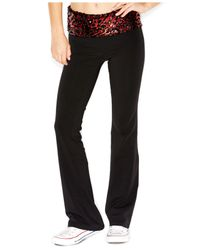 Guess Red Printed Sequin-Embellished Yoga Pants