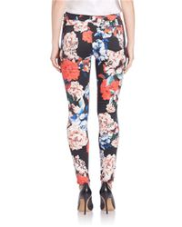 7 For All Mankind Multicolor Floral Print Skinny Jeans