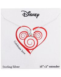 Disney - Gray Mickey Mouse Love Pendant Necklace In Sterling Silver - Lyst