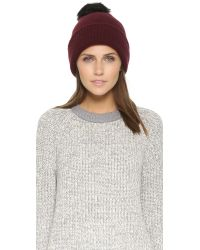 Rag & Bone | Purple Cynthia Knit Beanie With Shearling Fur Pompom | Lyst