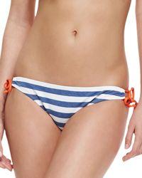 Splendid - Blue Tunnel Striped Tie Side Swim Bottom - Lyst