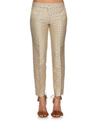 Etro Metallic Geometric-jacquard Slim-leg Cropped Trousers