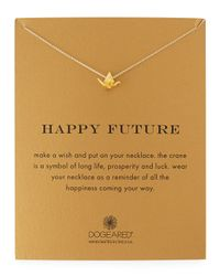 Dogeared Metallic Happy Future Gold-Dipped Pendant Necklace
