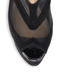 Christian Louboutin | Black Farfamesh Suede Tieup Sandals | Lyst