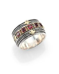 Konstantino | Metallic Artemis Rhodolite 18k Yellow Gold  Sterling Silver Band Ring | Lyst