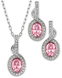 Swarovski Pink Rhodium-Plated Light Rose Crystal Pendant Necklace And Drop Earrings