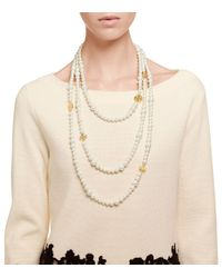 Tory Burch - White Evie Multi-Strand Necklace - Lyst