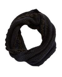 Lauren by Ralph Lauren | Black Contrast Knit Infiniti Scarf | Lyst