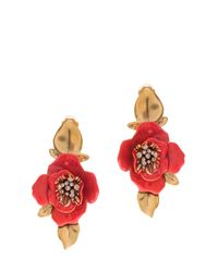 Oscar de la Renta | Red Painted Flower Earrings | Lyst