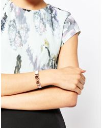 Ted Baker - Pink Leather Bow Bracelet - Lyst
