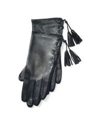 Ralph Lauren | Black Lace-up Leather Gloves | Lyst
