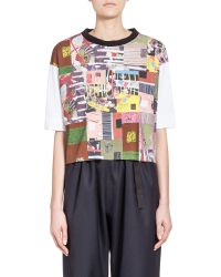 Marni - Purple T-shirt In Jersey Patchwork Roger Mello Print - Lyst