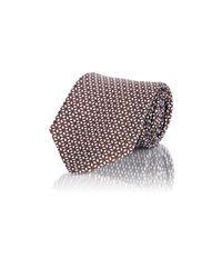 Battistoni Brown Neat-pattern Seven-fold Necktie for men