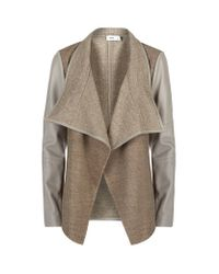 Vince | Natural Leather Sleeve Draped Jacket | Lyst