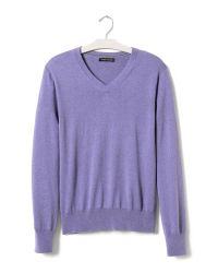 Banana Republic | Purple Silk Cotton Cashmere Vee for Men | Lyst