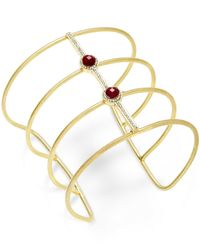 INC International Concepts | Metallic Gold-tone Mauve Stone Open Wire Cuff Bracelet | Lyst