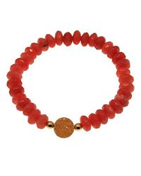 MaLi Beads - Red Collette- Rondelle Beaded Bracelet With Druzy Accent - Lyst