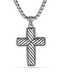 David Yurman Metallic Exotic Stone Large Reversible Cross with Black Onyx On Chain 22 for men