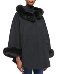 Sofia Cashmere - Gray Cashmere & Fox Fur Cape - Lyst